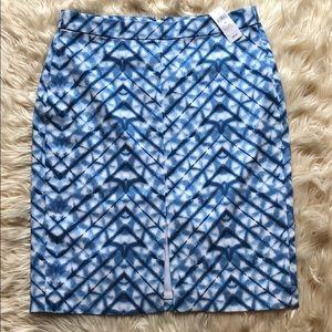 Banana Republic NWT blue/white tiedye pencil skirt